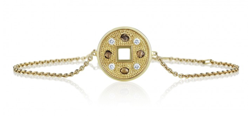 TALISMAN YELLOW GOLD LUCKY COIN BRACELET