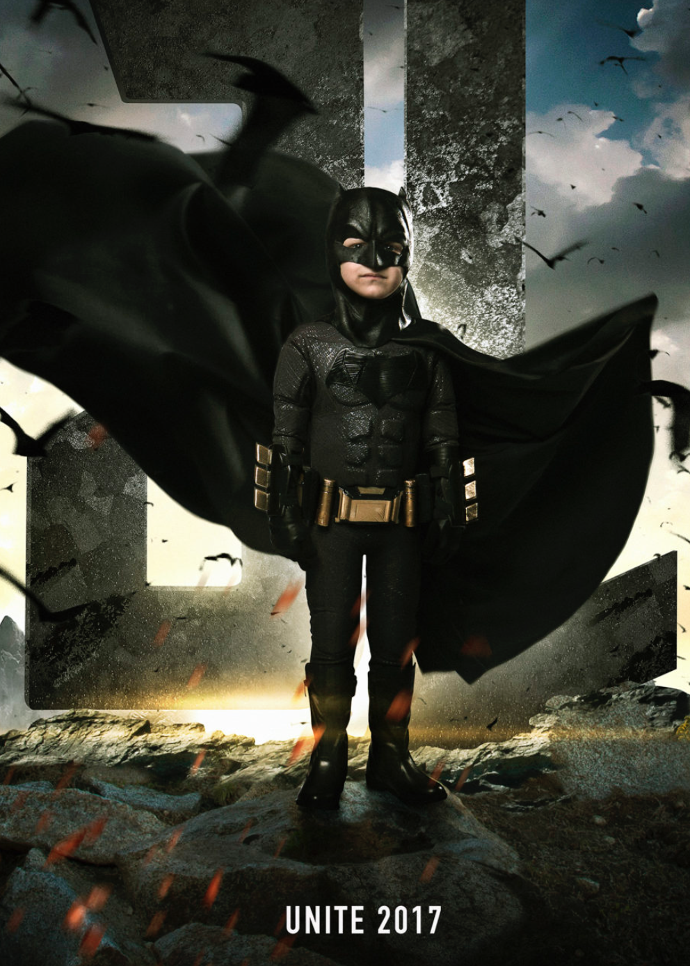 Five-year-old Simon Fuller, diagnosed with neuroblastoma, was featured as the Justice League's Batman. Image courtesy of Josh Rossi