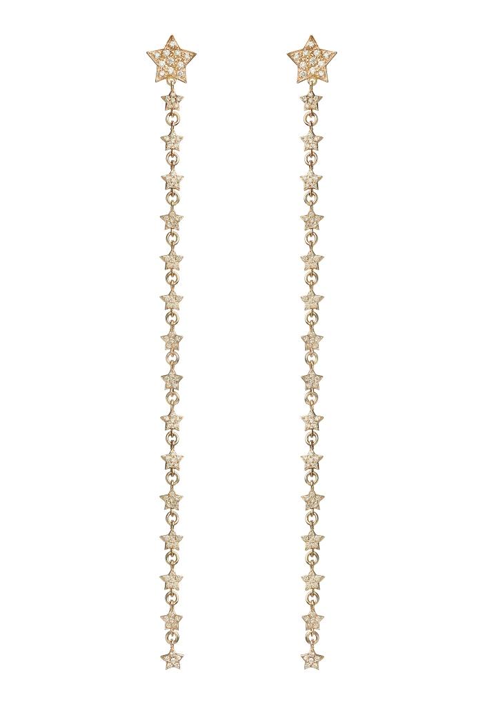 Stella chain earring full diamonds Spallanzani Jewels