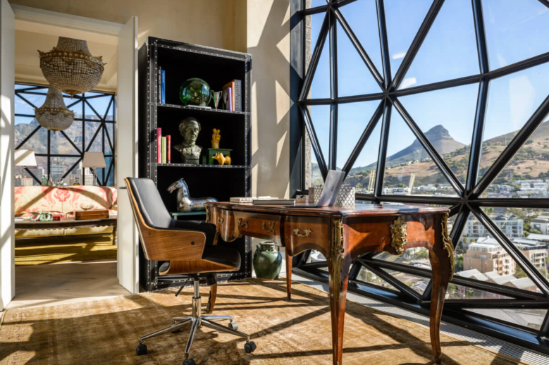 The peaceful study area in the extraordinary bedroom of The Silo Hotel penthouse overlooks Lion's Head and Signal Hill