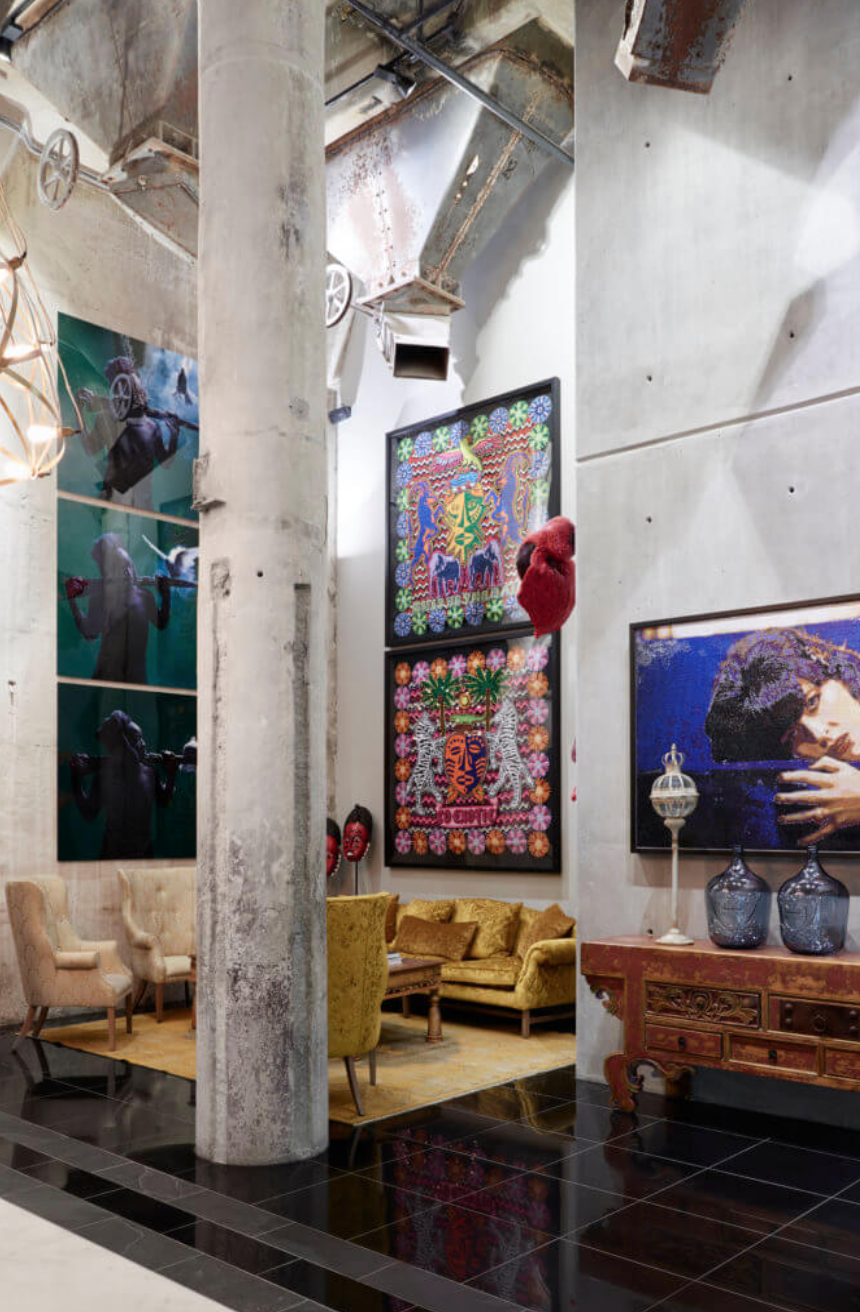 The eclectic art in the hotel lobby with several commissioned pieces. Photo by Micky Hoyle for VISI Magazine.